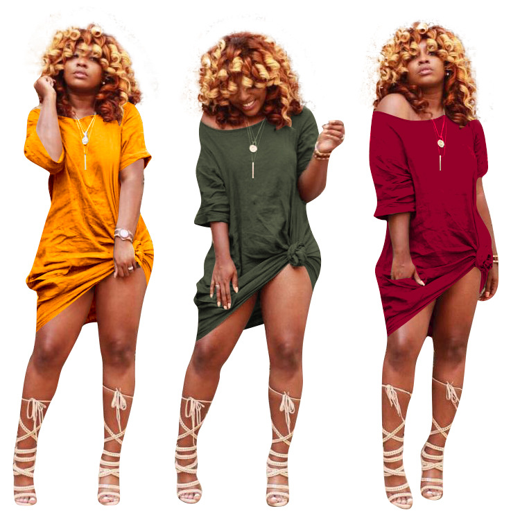 Fashion Tied Short sleeves Loose and comfortable Ladies casual dresses  Women daily wear
