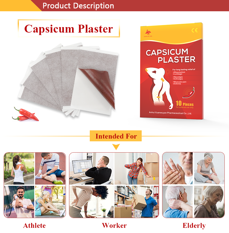 New Product Herbal Pain Relief Ginger Capsaicin Patch Hot Capsicum Plaster