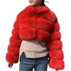 Custom Color and Size Genuine Fox Fur Jackets Sex Women Fur Jacket Coat / Real Dyed Red Fox Fur Coat Women