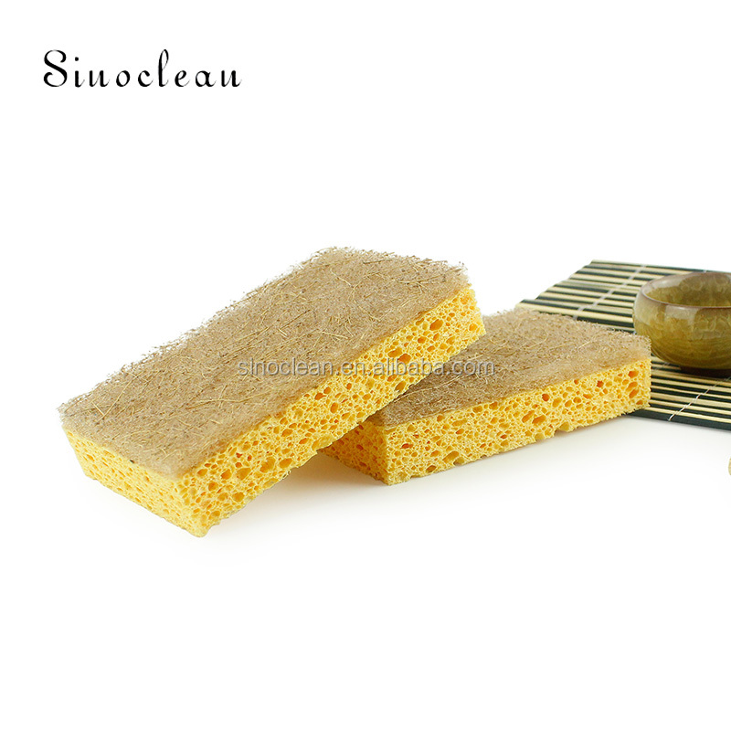 Household environmentally friendly biodegradable green cleaning sponge