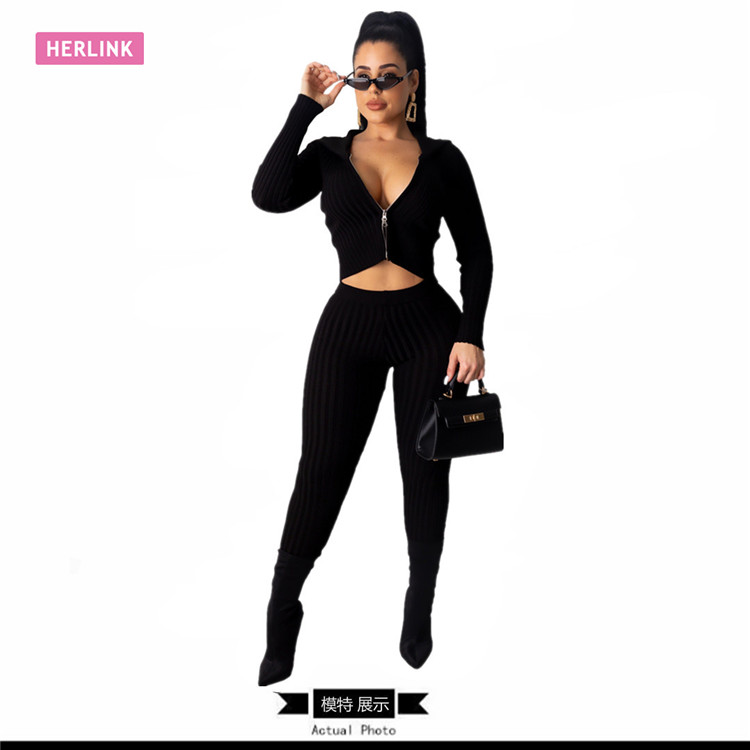 H2542 - ladies casual knit bodycon pants and solid zip up crop top two piece set