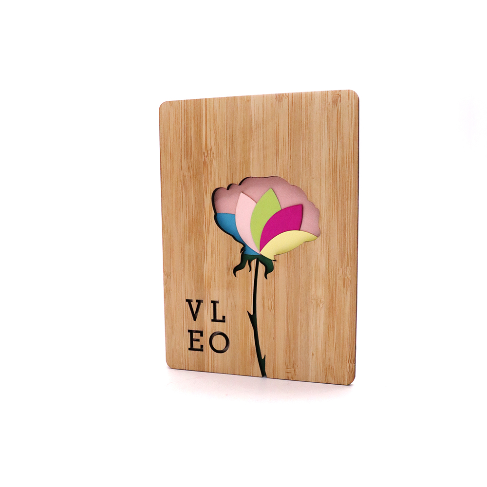 wholesale custom wooden cover printing paper laser cut greeting <strong>card</strong>