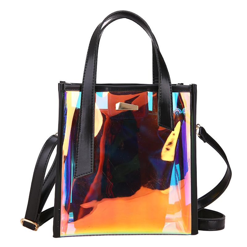 ¡Venta al por mayor! bolso de hombro de plástico transparente de PVC para mujer