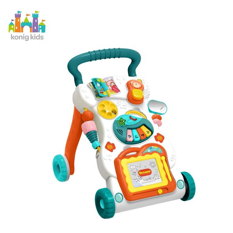 Konig çocuklar bebek aktivite oyuncak fabrika toptan plastik Walker oyuncak ile manyetik çizim kurulu müzikal bebek yürüteci öğrenme için