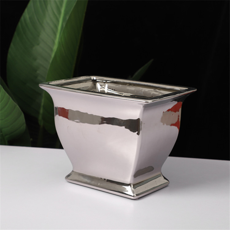Cheap wholesale custom logo unique wedding decoration plant stand silver plating ceramic planters