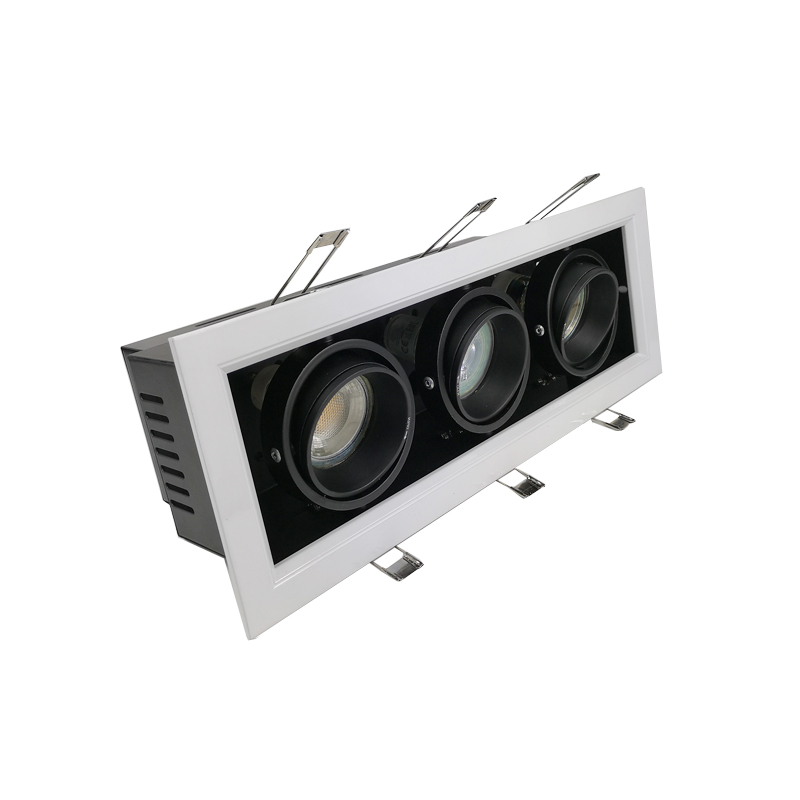 Good and Cheap Black And White Frame Three Triple Heads Recessed Grille Down Light GU10 MR16 Recessed Light Fitting