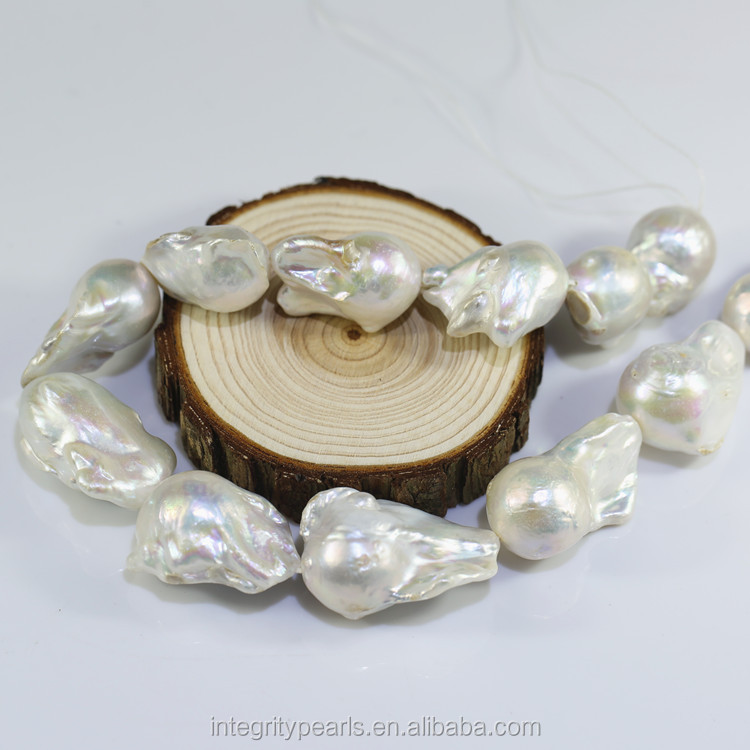 15-16x20-30mm large big size nucleated irregular fireball wholesale real fresh water genuine freshwater baroque pearl strand