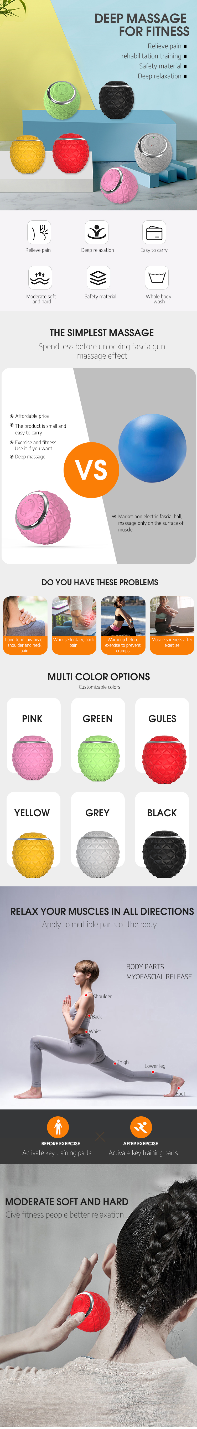 4-speed silicone soft heat electric foam roller washable massager yoga vibration massage ball