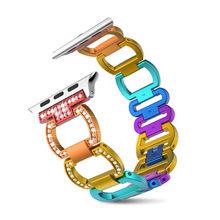 Роскошный ремешок из алюминиевого сплава для Apple Watch Band 38 / 42mm Series 3 2 1 Band Rhinestone Diamond Браслет для iWatch 4 5 40mm 44mm SmartWatches(Китай)