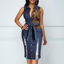 Seksi Lubang Single Breasted Leopard Patchwork <span class=keywords><strong>Denim</strong></span> <span class=keywords><strong>Wanita</strong></span> Gaun Kasual