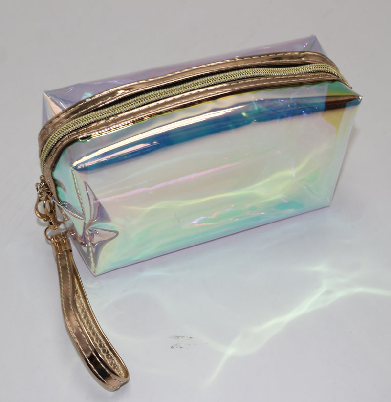 Colorful Laser holographic translucence TPU cosmetic Pouch ladies waterproof With Wristlet Travel Makeup Organizer Bag