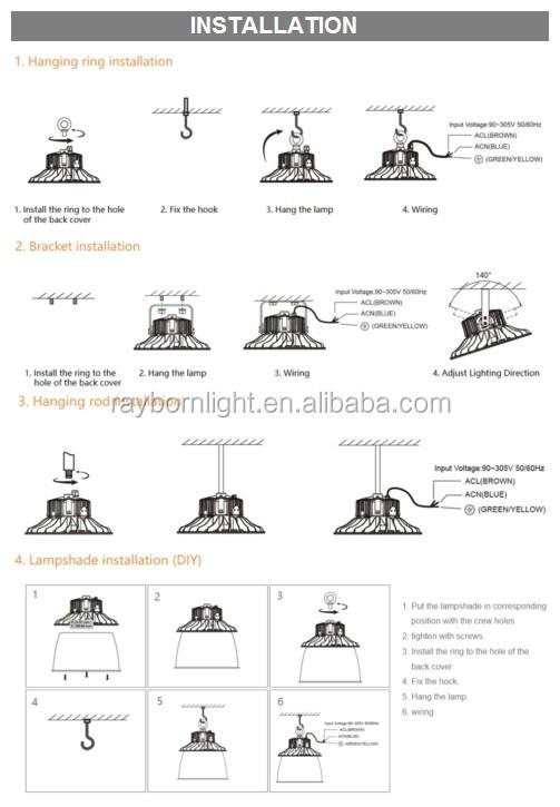 High efficiency silver black reflector Anti-glare 150W 200W 130LM/W led ufo high bay