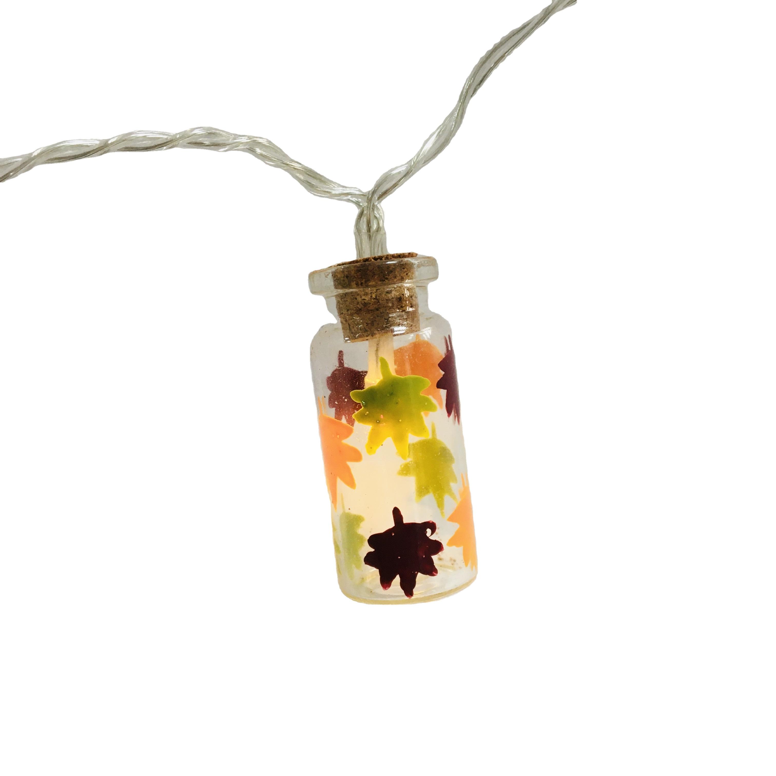 2020 Hot Harvest Lighting LED Maple Glass Bottle Lights For Thanksgiving Day Festival Decor