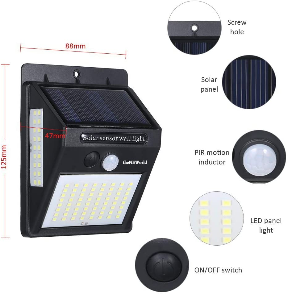DIFUL Solar Led Night Light 206 Garden Outdoor Energy-Saving Solar Powered Wall lights Path Steet Solar Led Light Outdoor