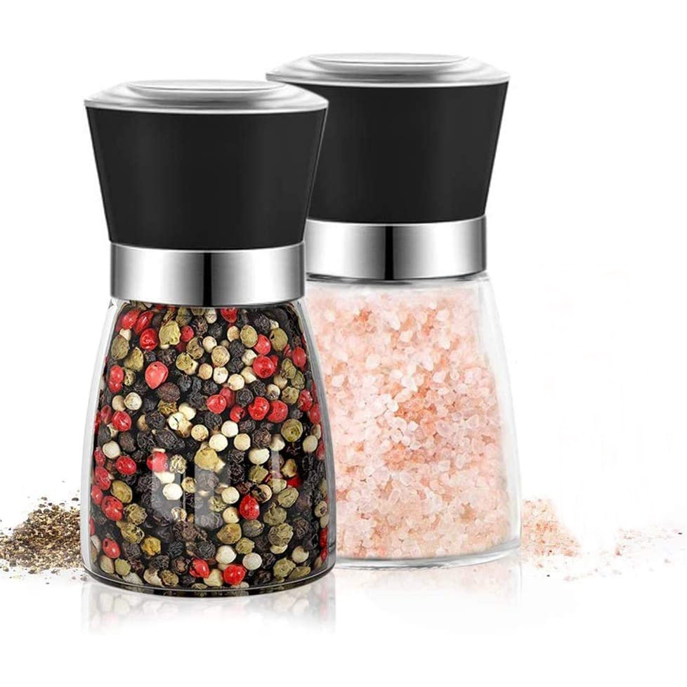 Manufacturers Wholesale Hot Sell Adjustable Ceramic Core Bottle Stainless Steel Glass Salt Mill Chili Manual Pepper Grinder