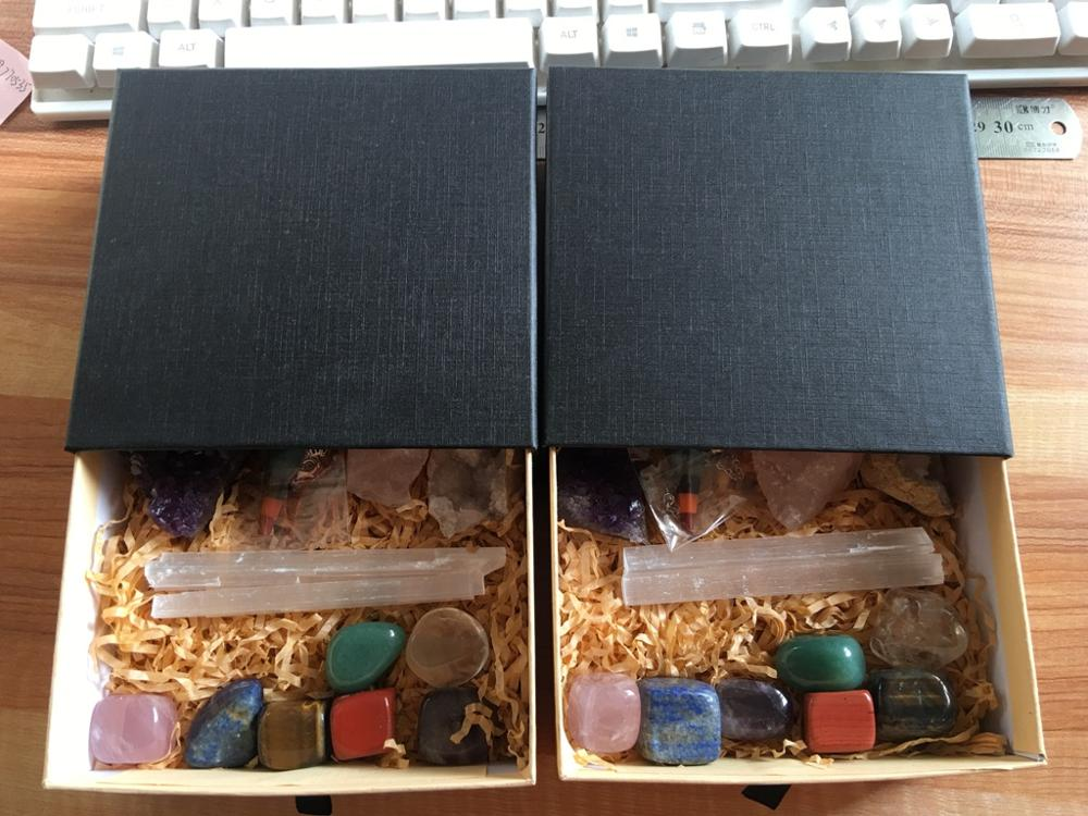 Custom Natural Set Kit Meditation Box Chakra Stone Crystals Healing Stones