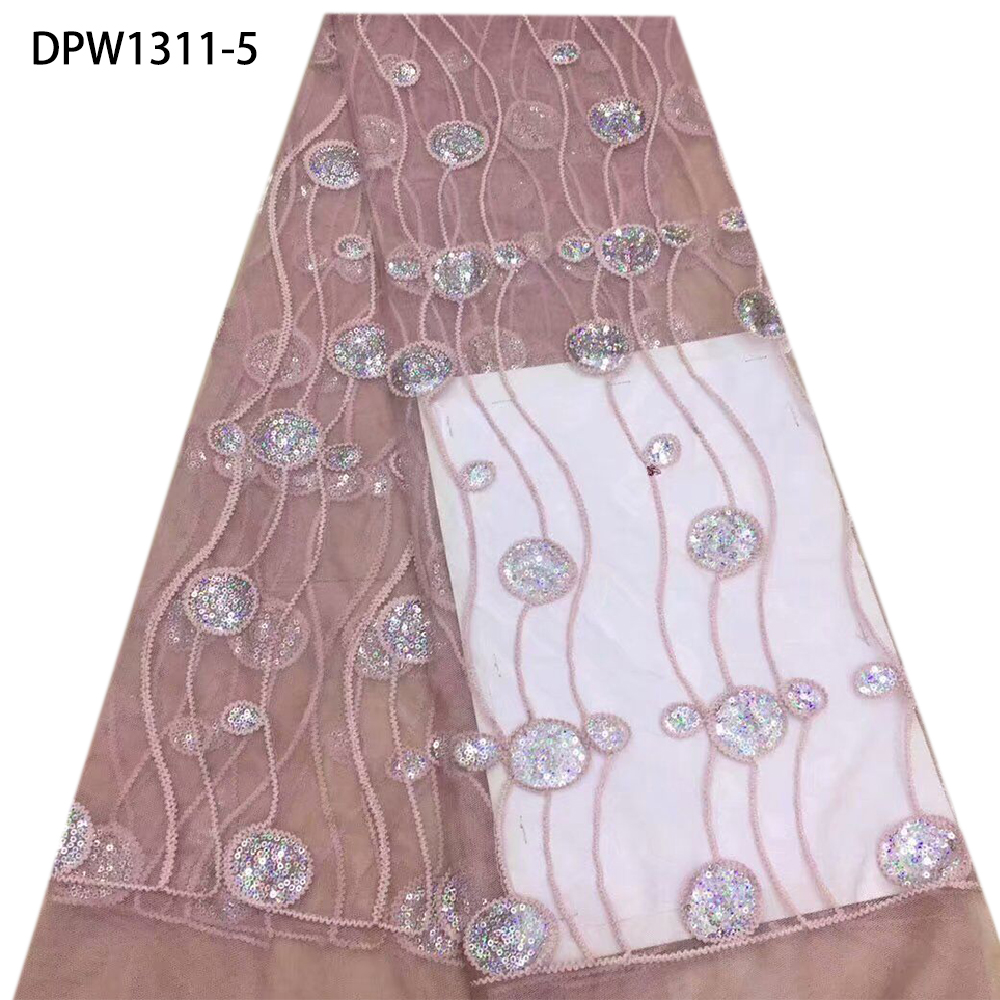 Cheap Nigerian Baby Pink Embroidery Sequins Bridal African French Tulle Lace Fabric