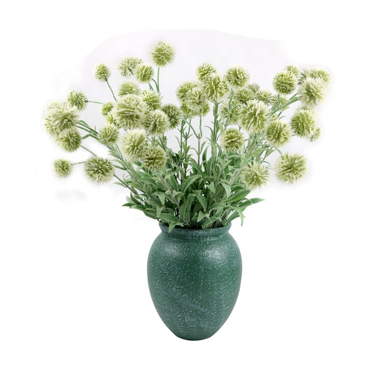 Factory Hot Sales Artificial Bunch Of Green Onion Balls Flower For Home Party Decoration Flocking