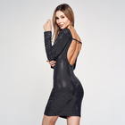 Wholesale Casual Sexy Bandage Party Wear Long Sleeve Back Openwork Tight slim Sequin Beaded Pencil dress ladies