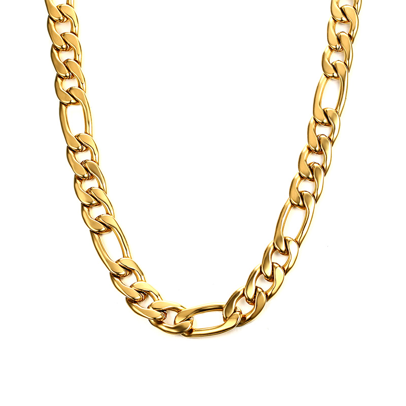 korea style 14k gold plated stainless steel figaro chain, Silver;gold;black