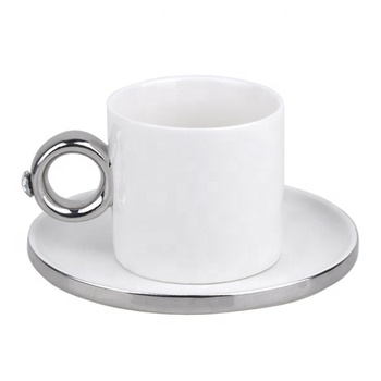 elegant white wholesale ceramic silver plated tea coffee sets and saucer with ring handle for coffee promotion