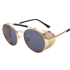 Europe and the United States style metal steampunk glasses flip sunglasses men and women trend retro round frame sunglasses