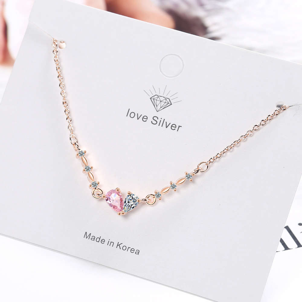 Korean waterdrop rhinestone necklace elegant fashion heart diamond necklace simple bow pendant clavicle necklace for women girls