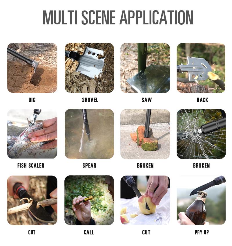Camping Multitool Shovel-Portable Military Folding Outdoor Multifunction Tactical Survival Shovel