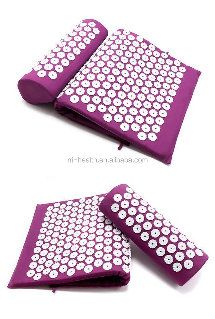 Wholesale massager relievepain spike yoga acupressure mat with pillow set