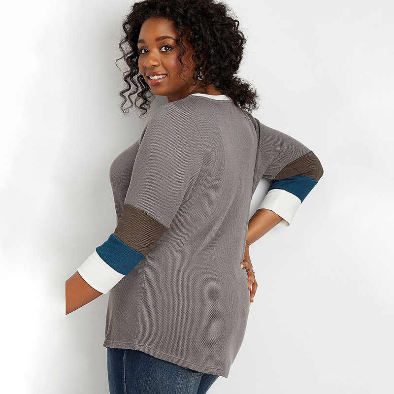 Autumn Long Sleeve Plus Size T-Shirt Blocked Sleeve Thermal Tee