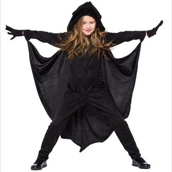 Bat Vampire Costumes for Kids Hooded Cozy Jumpsuit Halloween Carnival Party Dress Up Clothes