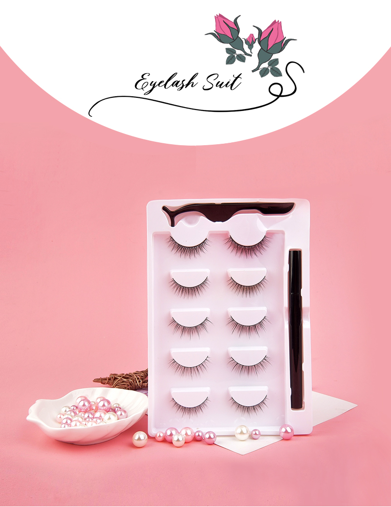 No Glue Non-Magnetic Fake Eyelashes Set 5 Pairs Reusable False Lashes 1 Magic Eyeliner  False Eyelashes and Eyeliner Kit