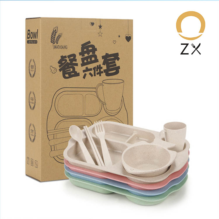 6pcs/set ECO Friendly <strong>kids</strong> tableware 4 compartments platesWheat straw dinner <strong>plate</strong>