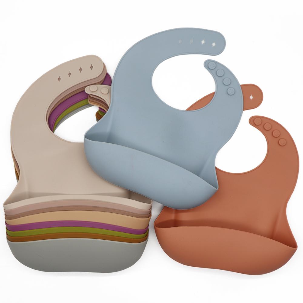 Melikey 100% food grade lightweight teething saliva custom waterproof silicone baby bib