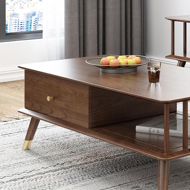 Living Rooms Furniture Standard Size Modern Design Fancy Living Room Table Furniture Soild Wooden Tea Table With Drawerstables