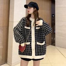 Корейский твидовый клетчатый шерстяной Блейзер для женщин, зима-осень 2020, женское длинное пальто, толстые куртки, Свободные повседневные об...(Китай)
