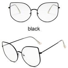 Большие прозрачные очки для женщин, большие очки кошачий глаз, Ретро стиль, женская Металлическая оправа, поддельные очки, прозрачные очки ...(Китай)