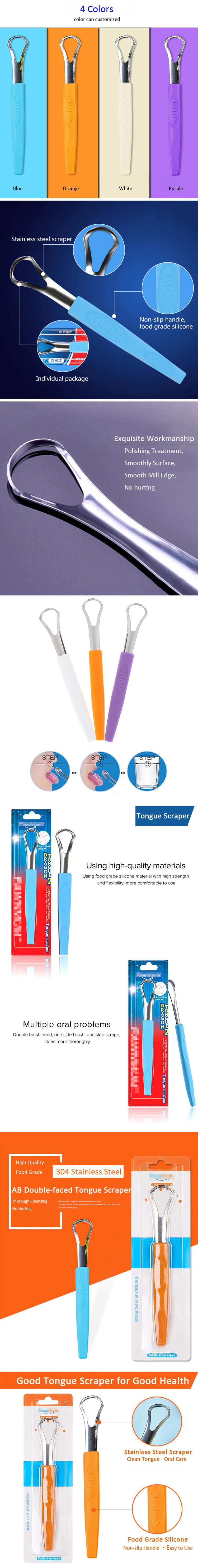 La lengua de acero inoxidable raspador limpiador aliento fresco de lengua de grado médico de la lengua raspado limpiador