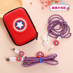 USB Cable Earphone organizer Set bag with Cable Winder Cartoon stickers Cable and Charger protector