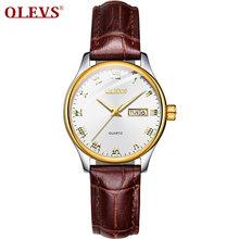 OLEVS Новейшие женские часы водонепроницаемые наручные часы для женщин повседневные женские часы кварцевые кожаный ремешок(Китай)