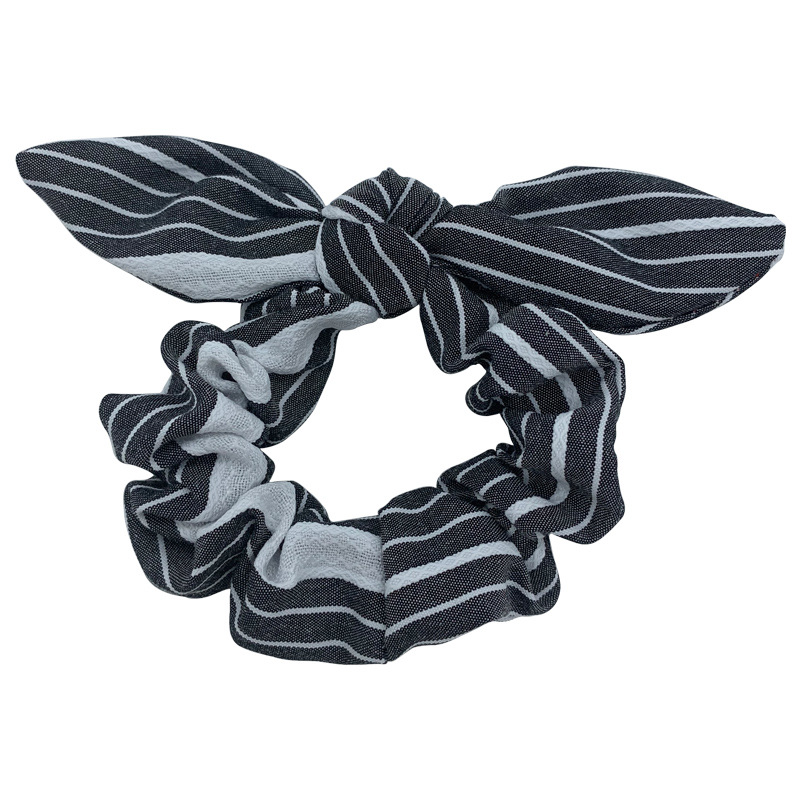 Contracted custom design low MOQ  rabbit ear spot printing hair rubber band hair scrunchies