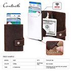 free sample contact's crazy horse leather 2019 new product rfid aluminum automatic pop up leather id cash credit card holder