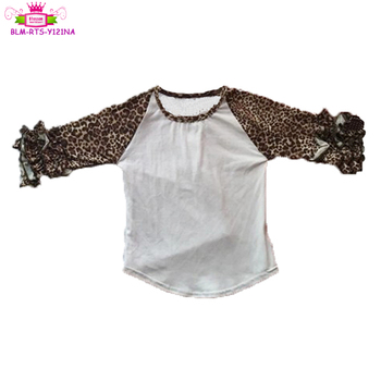 Ready to ship kids icing ruffle raglan tops mom and me baby infant icing shirts & top with leopard sleeve