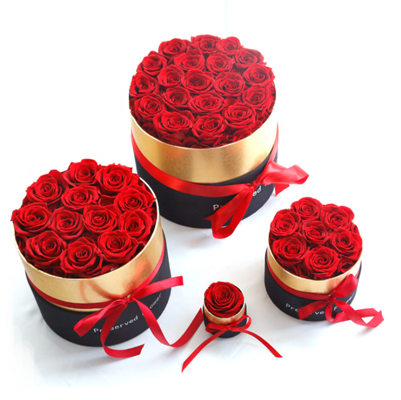 Hottest selling christmas gift preserved <strong>rose</strong> <strong>head</strong> in box Valentine day gift