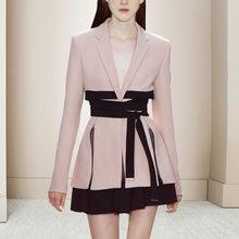 Женский дизайнерский блейзер с длинным рукавом, элегантные офисные вечерние костюмы с поясом и v-образным вырезом, костюм из 2 предметов, 2020(Китай)