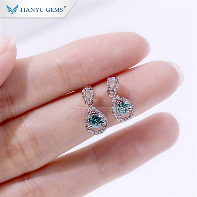 Tianyu korea fashion design earrings wholesale gold plated sterling silver 925 moissanite women earring