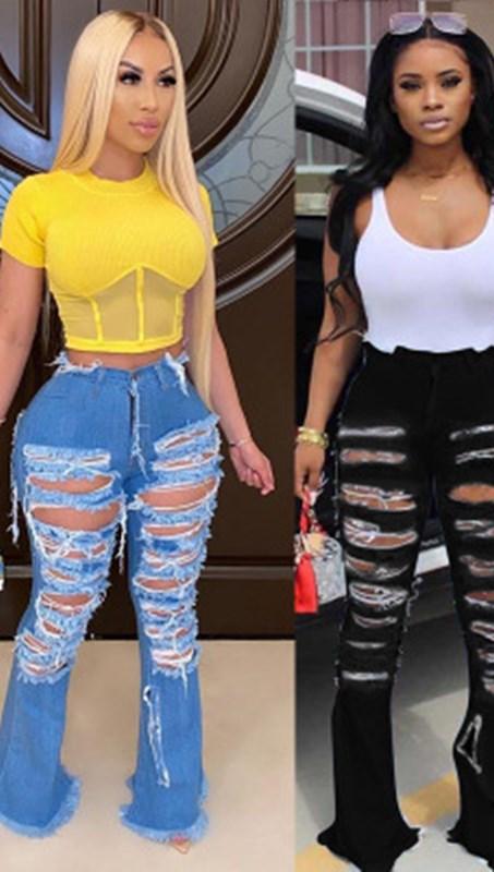 2021 kişilik sokak Trend geniş bacak yırtık boynuz çan alt kot kadın kot