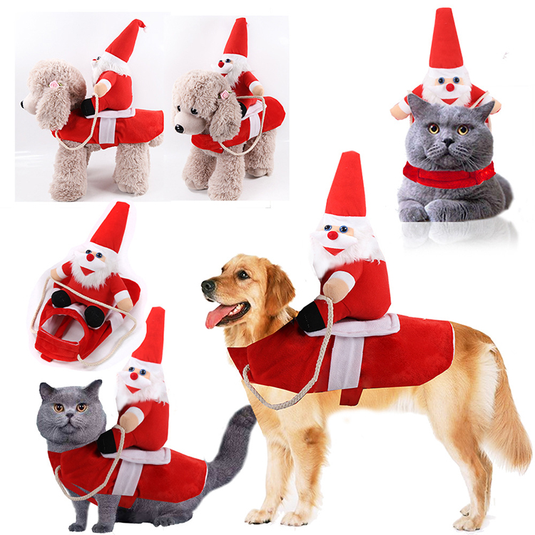 Dog Christmas Costume Santa Claus Riding Reindeer Clothes Pet for Small Pet