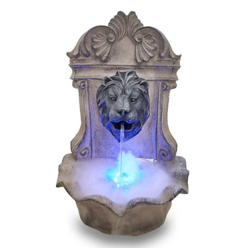 wall hanging water feature resin lion head waterfall fountain