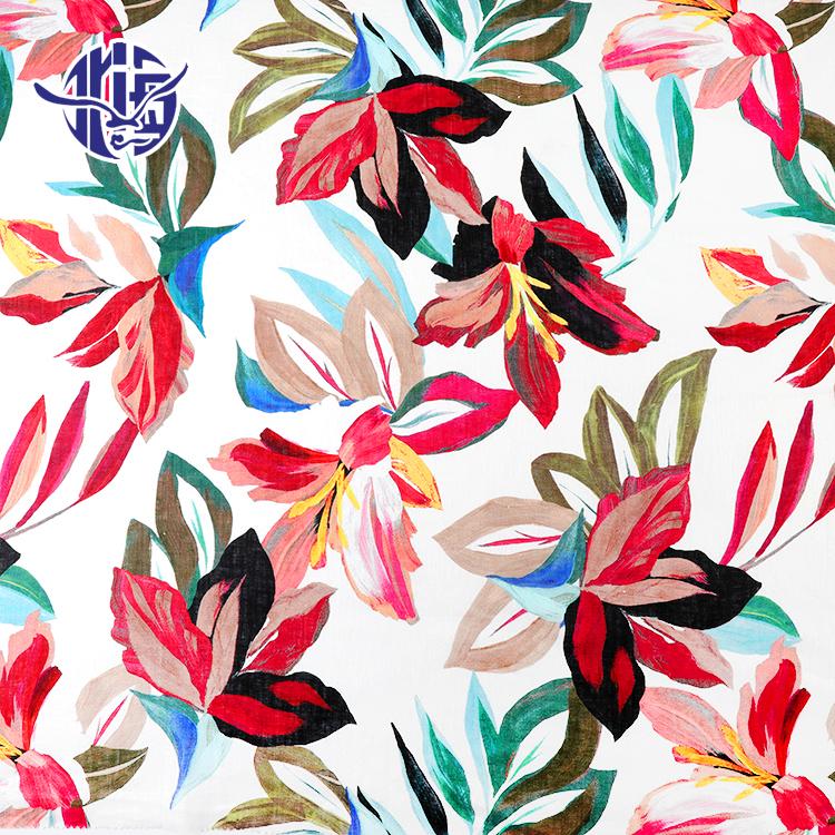 Çin çiçek renkli dijital baskı organik toptan özel 100% keten giysi kumaşı
